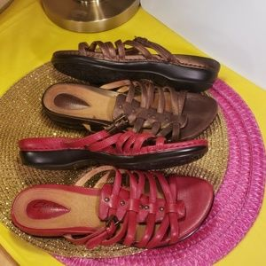 2pr of Clark's Artisan Sandals Red/Copper